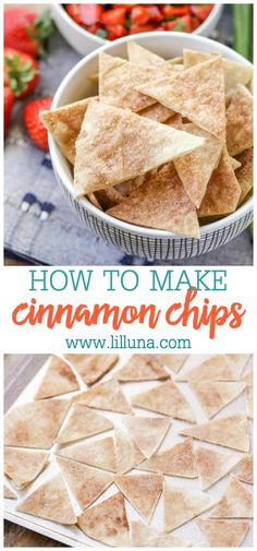 Cinnamon Chips The perfect baked snack to dip in sweet desserts, frosting, salsas and more! Super easy to make a bunch and serve with your favorite dessert dip! Snacks To Make, No Bake Snacks, Yummy Snacks, Snacks Homemade, Easy Desserts To Make, Homemade Chips, Small Desserts, Yummy Treats, Cinnamon Sugar Tortillas
