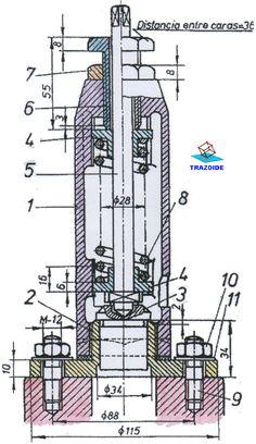 conjunto montado de una valvula de resorte