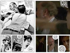 The Walking Dead Temporada 7 Episodio 5: Serie vs Cómic:  1.- El ultrasonido de Maggie fue igual en el cómic tanto como la serie, sin embargo, las noticias que recibió al respecto fueron diferentes en la serie.  2.- En la serie y cómic, Maggie visita la tumba de Glenn, pero, en los cómics, una mujer va a consolarla por sus pérdidas.  3.- El ataque de los Salvadores a Hilltop con la música no pasó en los cómics.  4.- Enid no existe en los cómics, así que, el viaje en patines y el beso nunca…