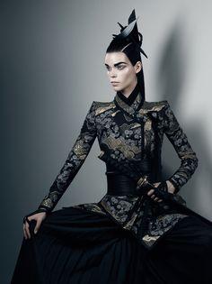 ktshy:  theartofpaigey:  lauren-draws-things:  rossagg:  madamecuratrix:  memorian:  Honor  Gothic, glamorous take on Japanese-inspired style.  I think I'm in love….  stiff square shoulders, obi-esque middle, and pleated fabric, oh my  OooooooOOOoooooooh…  Some amazing design shape work…