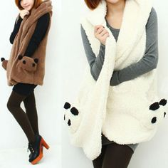 Autumn/Winter Cute Panda Fleece Loose Waistcoat Sweater Jacket  SP141357