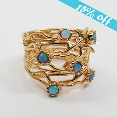 15 OFF  Gold ring. Opal ring. Branches ring by STarLighTstudiO3, $55.00