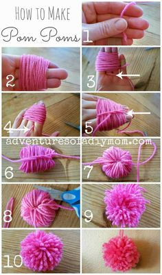 Learn how to make pom poms. You don't need any fancy tools, just some yarn, your fingers and some scissors. They adorable little balls are irresistible! And they're easy to make too!!  #diypompoms #howtomakepompoms #easypompoms #adventuresofadiymom #diycrafts