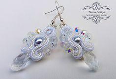 Handmade Soutache White Earrings  By Tímea Design - Bánfi Tímea