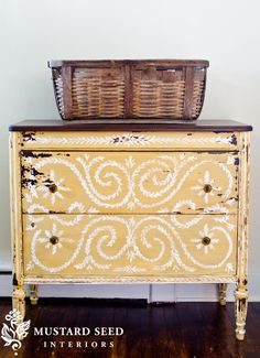 "Miss Mustard Seed - ""Mustard Seed"" yellow from her milk paint line. I so want this dresser to come and live with me! W/ decorative painting and a refinished dark wood top. Gorgeous!--I love colored furniture and accessories against a soft white wall."