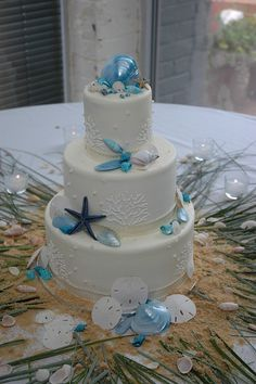 Beach Themed Wedding Cake by Ryke's Bakery . Catering . Cafe, via Flickr