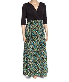 Another great find on #zulily! Black & Teal Abstract Geo Surplice Maxi Dress - Plus #zulilyfinds