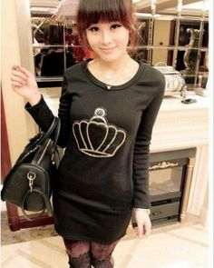 Black Long Sleeves Korean Fashionable Blouse with Unique Crown Pattern  1