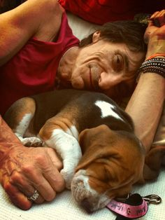 Rolling Stones' Ronnie Wood and Dolly the Basset Hound puppy