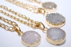 Mini Druzy Gold Necklace Druzy Necklace by PoppyKittenDesigns on Etsy https://www.etsy.com/listing/222630083/mini-druzy-gold-necklace-druzy-necklace