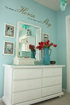 "Custom color similar to Martha Stewart paint color: Artesian Well  A ""maybe"" for the girl's bathroom"