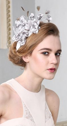 Jane Taylor Millinery, Retta, A/W 2013 - Handmade orchid spray headband with delicate feather detail. #passion4hats