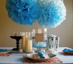 This elegant blue and brown baby shower made use of items around the house.