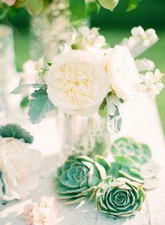 beautiful succulent and garden rose centerpieces /// Photo: Jodi Miller Photography, Venue: Montpelier, Floral Designer: Sugar Magnolias