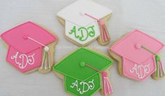 grad cap cookies~                        by TheSweetShopCookieCo on Etsy, $55.90, pink, white, green, tassel
