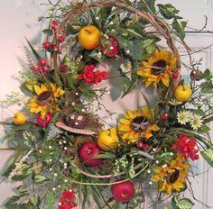 Beautiful sunflower wreath on ETSY!