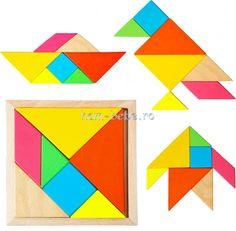 Puzzle Tangram din Lemn Ham, Puzzle, Toys, Cards, Bebe, Geometry, Activity Toys, Puzzles, Hams