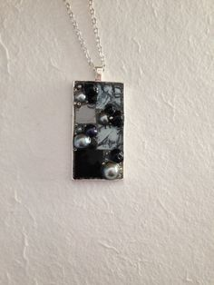 Long mosaic  pendant necklace black silver stained glass silver van gogh mosaic tile silver black pearl beads