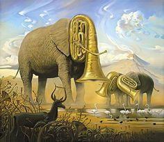 Vladmir Kush - elephant trumpets africa surrealism painting art animal