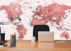 Leandro Selister - Adesivo de Parede – Mapa-múndi Vermelho - http://www.leandroselister.com.br/loja/adesivos-de-parede/adesivo-de-parede-mapa-mundi-educativo-vermelho/