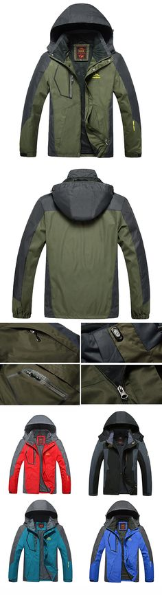 US$47.89 (46% OFF) Windproof Detachable Hood Jackets for Men: Plus Size / Outdoor / Climbing / Water Resistant