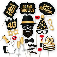 40th Birthday Party Photo Booth Props Kit