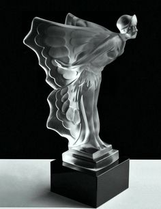 Art Deco Bohemia 1930's Glass Car mascot 'Nude Woman With Wings'