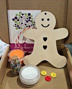 Gingerbread Man Kit, Children's craft kit, kids activity kit, Christmas craft, stocking filler, secret santa, Christmas eve, glitter, sequin by Undertherowantrees on Etsy