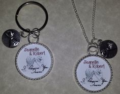 "Custom Handmade ""I Promise You Forever"" Any Names Couples Necklace & Key Chain Set You will receive what is pictured with it customized with the names you choose. Please include the names you would like with your payment or send me a message through the site or email me directly at info@CheysCreations.com Pendants measure approx 25mmx25mm (1 inch) Necklace measures approx 30 inches. Lobster Claw clasp. Can be shortened to any length you would like. ** If you would like both to be key…"