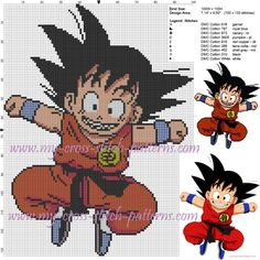 Little Goku cross stitch pattern