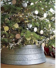 Guest Picks: Cool Alternatives to Christmas Tree Skirt--- galvanized tree collar, Crate and Barrel. Christmas Trends, Christmas Love, Rustic Christmas, All Things Christmas, Christmas Holidays, Happy Holidays, Merry Christmas, Holiday Ideas, Coastal Christmas