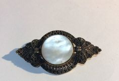 OLD VINTAGE VICTORIAN STUNNING PINCHBECK & GENUINE MOTHER OF PEARL BROOCH PIN  | eBay