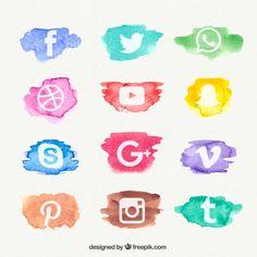 Acuarela colección de iconos de red social Vector Gratis