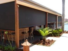 Commercial and Residential Solar Screen Shades and Roller Shades Outdoor Blinds, Outdoor Rooms, Outdoor Decor, Outdoor Kitchens, Exterior Blinds, Porch Shades, Bamboo Roman Shades, Best Blinds, Modern Blinds