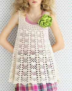 Crochet tunic - free pattern (No longer available at this site. I will search more). Beau Crochet, Pull Crochet, Mode Crochet, Crochet Tunic, Crochet Girls, Crochet Woman, Crochet For Kids, Crochet Clothes, Crochet Baby