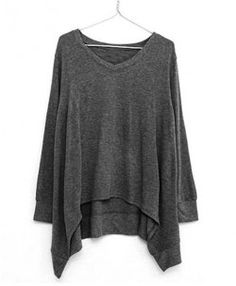 Gray Ribbed Batwing T-shirt With Dipped Hem