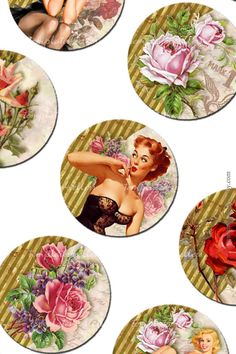 Digital Collage Sheet  Pin Up Girls 1 inch round images