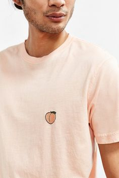 d994b9ac8ddcd Urban Outfitters Embroidered Peach Tee Peach Clothes