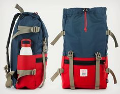 Topo Designs Rover Pack Backpack | Navy/Red. The Rover Pack Backpack is the perfect size for any need, style for any occasion, and the functional versatility to work in any situation. Available at Sportiquesf.com