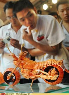 Chefs at an exhibition hosted by the Fuzhou Hotel in Fuzhou, China, made motorcycle sculptures out of pieces of lobster.
