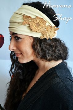 Check out this item in my Etsy shop https://www.etsy.com/listing/121345455/wide-beige-turban-with-lace-applique