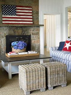Design Inspiration: Contemporary Country  I like the wooden flag over the fireplace