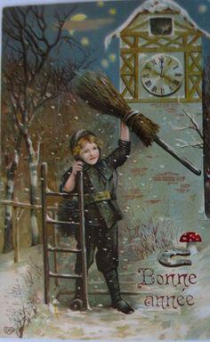"""""""Neujahr, Schornsteinfeger, Pils"""" 1910 Serie E.A.S. ♥ (1529)"""