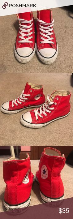 Red high top converse women's size 6 gently worn and washed. women's size 6 high top red converse Converse Shoes Sneakers