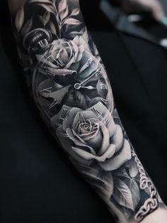 Kir Delgado > Roses & Clock on back of neck tattoos on back on back shoulder tattoos on back on back skull Clock Tattoo Sleeve, Full Sleeve Tattoos, Sleeve Tattoos For Women, Tattoo Sleeve Designs, Clock Tattoos, Sleeve Tattoo Men, Forarm Tattoos For Women, Clock And Rose Tattoo, Rose Tattoo Cover Up