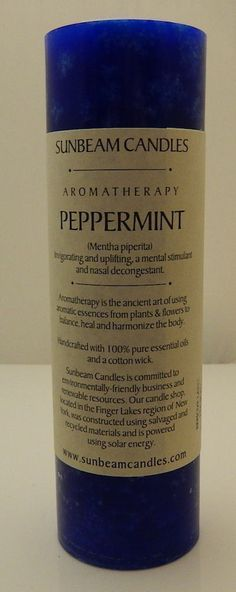 Stimulating Peppermint Candle Sunbeam Candles Uplifting Aromatherapy 2x6 Pillar Candle