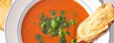 Rajčatová polévka s tousty s goudou
