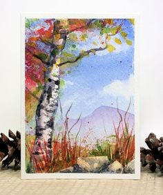 Let's Paint Blue Skies and Birch Trees Today! | The Frugal Crafter