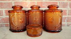 Tiara glass | 1970s Tiara sandwich glass 4 piece canister and candy dish set. Brown ...