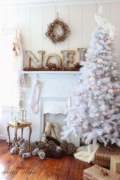 Estilos de temáticas de Árboles de Navidad blancos para decorar…